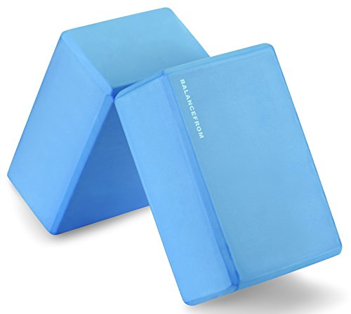 "BalanceFrom GoYoga Set of 2 High Density Yoga Blocks, 9""x6""x4"" Each [Newest Version] (Blue)"