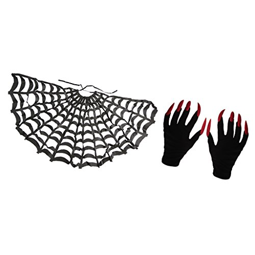 Spider Web Gloves With Fingers (Dovewill Funny Halloween Cloak Spider Web Cape and Gloves with Fingernails Party Costume Accessories)