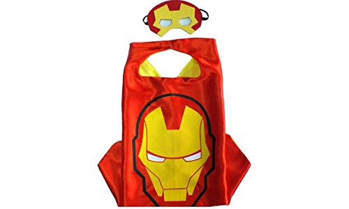 Iron Man Costume for Kids and Durable Satin Cape and Felt Mask and Amazing Cape for Boys and Girls 100 Percent Red]()