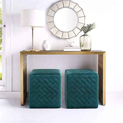 Inspired Home Alexis Green Velvet Cube Ottoman - Quilted | Upholstered | Living Room, Entryway, Bedroom