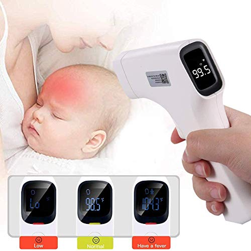 Non-Contact Infrared Forehead Digital Medical Thermometer Gun with LED Display, Fever Alarm, 32 Data Memory for Baby, Adults, Kids, Surface of Objects with CE and FCC Approved 2 Pack