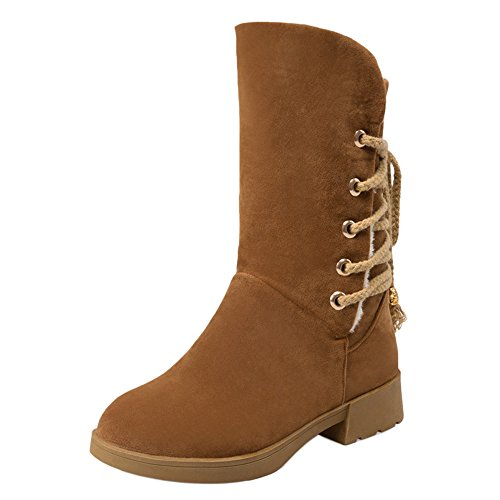 Lined COOLCEPT Mid Warm Up Brown Women Calf Boots Lace Comfort 4ZwqSx64R