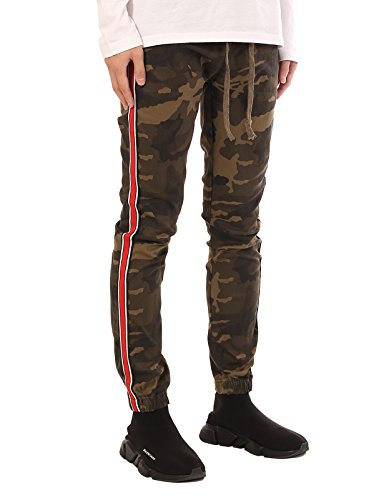 JD Apparel Men's Retro Jogger Pants with Red Stripes S Olive