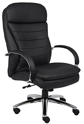 Boss Office Products B9221 High Back Executive CaressoftPlus Chair with Chrome Base in Black - Exec Chair