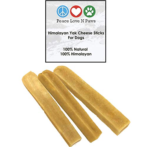 Peace Love N Paws 100% Natural Himalayan Dog Treats - Hard Cheese Bones - Large/Medium Chews Sticks