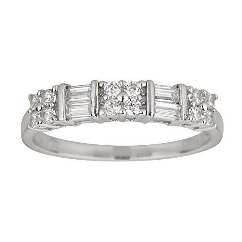 Sterling Silver Alternating Baguette & Round Cut Cubic Zirconia Anniversary Band Ring