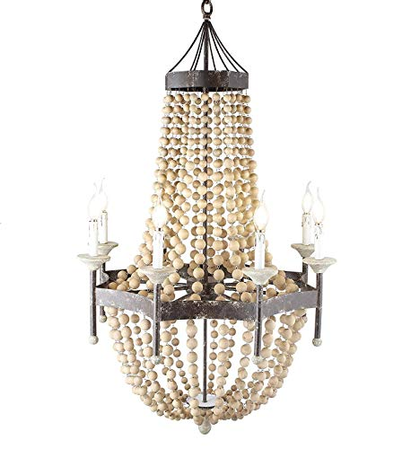 Iron Frame Wooden Rustic Scalloped Wood Bead Regina Chandelier Lamp 8 Lights H50 X W32 Large Ceiling light Fixture Pendant