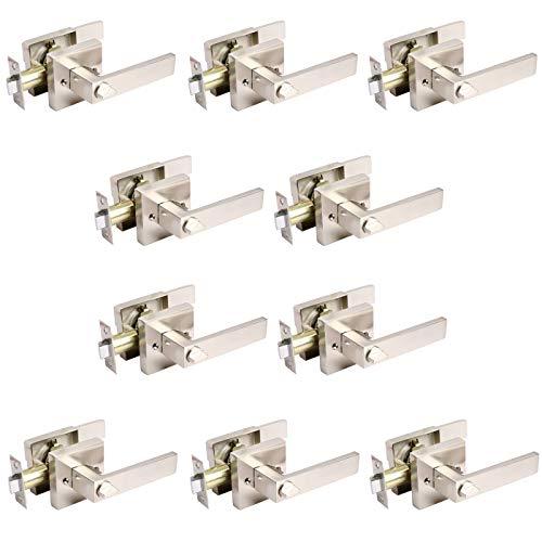 10 Pack Heavy Duty Privacy Door Lever Door Lock Sets Satin Nickel Finish Keyless Door Knobs Bedroom/Bathroom/Interior Doors Left/Right Handed Door Handle