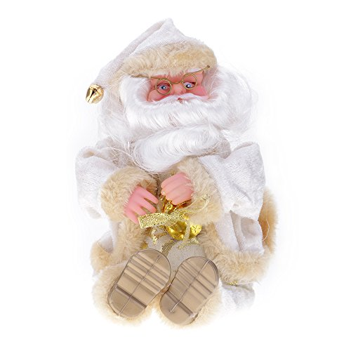 HuntGold 27cm Ornaments Decor Santa Claus Mustache Hat Doll Toy Christmas Gift Great Decoration For Home Office White