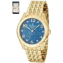 Kit Relógio Feminino Champion Azul Colar e Brincos CN26984K