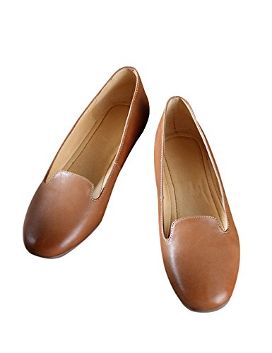 Zoulee Womens Bout Rond En Cuir Appartements Chaussures Paresseux Chaussures Marron