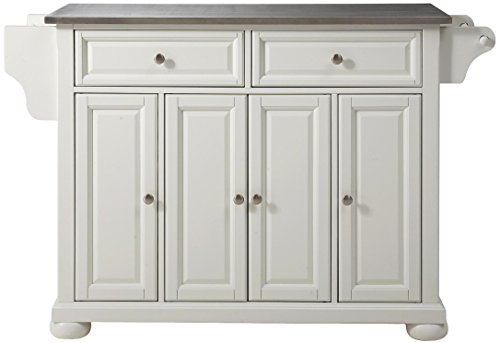 Crosley Furniture Alexandria Kitchen Island with Stainless Steel Top, White