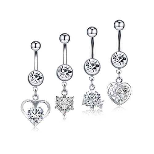 Curved Belly Dangle (C&L 4PCS Crystal CZ Gem Surgical Steel Dangle Belly Button Rings Navel Body Jewelry for Women Curved Barbell Piercing)