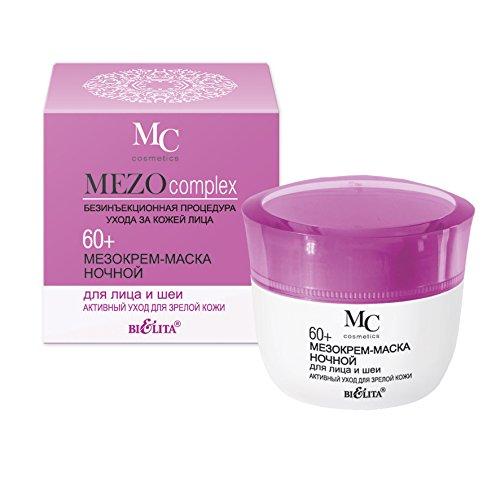 Bielita & Vitex MEZOcomplex Line Night Face & Neck Mezo Cream-Mask 60+ Active Rejuvenation for Mature Skin, 50 ml with Hyaluronic Acid, Collagen, Polylift, Amino Acid Cocktail, Vitamins