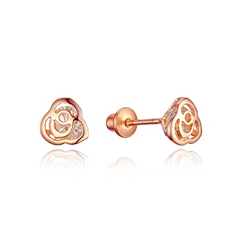 Rose Gold Tone Rose Cubic Zirconia Screwback Baby Girls Earrings with Sterling Silver Post