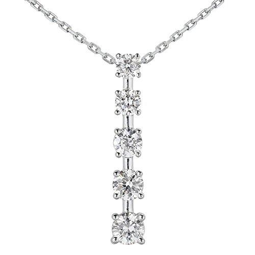 Pendant 1/2 Ct Journey Diamond - AGS Certified 1/2 Carat TW Diamond Journey Pendant in 14K White Gold