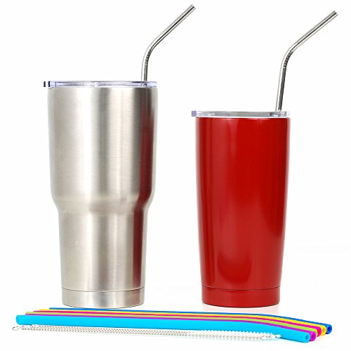 REGULAR SIZE Silicone Straws for 30 oz Tumbler & Stainless Steel Straws Bundle - 6 Silicone Straws for Yeti/Rtic / Ozark + 2 Brushes + 2 Metal Straws - Reusable Straws Extra Long + 1 Storage Pouch by Kitchen Up (Image #4)