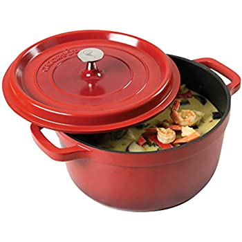 Crock Pot 79564.02 Edmound 5Quart Cast Aluminum Dutch Oven with Lid, Gradient Red