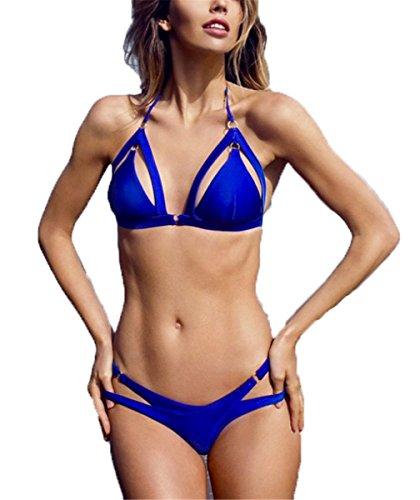Emin Damen Sexy Mode Einfarbig Bandage hohl Badeanzug Bikini Bademode Bikini Push Up Badeanzug Swimwear Bandeau Swimsuit Set Tankini 2018 Oberteile + Höschen Bikini-Sets Triangle Blau