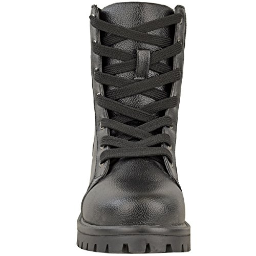 Military Leather Ankle Worker Shoes Up Fashion Style Faux Black Thirsty Army Boots Combat Womens Lace Size wYqnpZfx