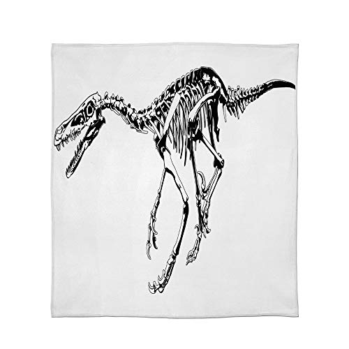 Lightweight Blanket,Dinosaur,for Bed Couch Chair Fall Winter Spring Living Room,Size Throw/Twin/Queen/King,Skeleton Prehistoric Wild Animal Raptor Predator Bones