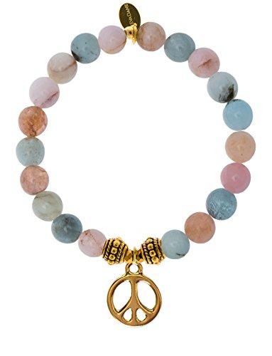 EvaDane Natural Morganite Beryl Gemstone Rope Bead Peace Sign Charm Stretch Bracelet - Size 9 Inch ( 1_MOR_G_R_PEA_9)