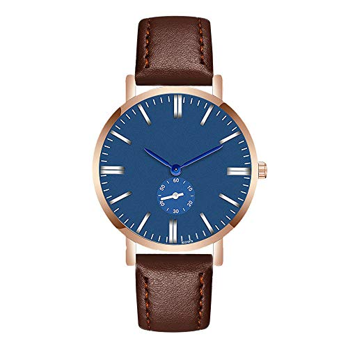 Zackate Mens Fashion Crystal Blue Dial Wristwatches Leather Analog Quartz Wrist Watch for Casual ()