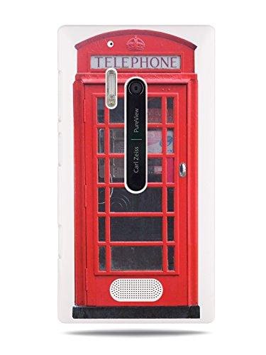 "GRÜV Premium Case - ""Retro UK Vintage London Red Phone Booth Doctor Who"" Design - Best Quality Designer Print on White Hard Cover - for Nokia Lumia 928"