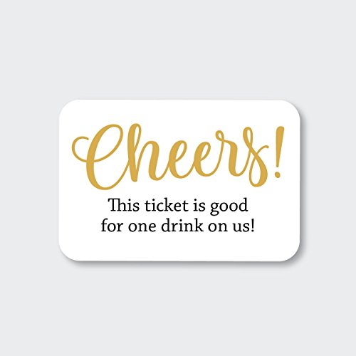 70ct Wedding, Birthday, Engagement Party and Other Event Cash Bar Drink Tickets (RR-145-GL) for $<!--$9.99-->