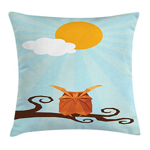 (NBTJZT Owl Print Throw Pillow Cushion Cover, Artistic Cute Sleepy Bird on Swirling Branch at Sunny Day on Pastel Sunburst,Pillowcase 18X18 Inch, Multicolor)