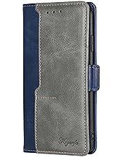 ESONG telefoonhoes voor MOTO G30/G20/G10,Premium Lederen Flip Wallet Telefoon Case [Magnetische Sluiting] [Card Slots] [Kickstand] Shockproof Cover Case-Blauw&grijs