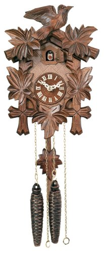 River City Clocks One Day Hand-Carved Cuckoo Clock with Five Maple Leaves & One Bird - 9 Inches Tall - Model # -