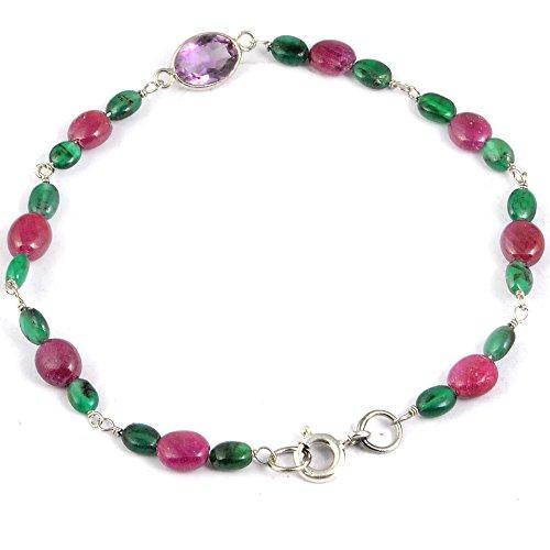 Ruby, Emerald, Amethyst 925 Sterling Silver Ladies Bracelet