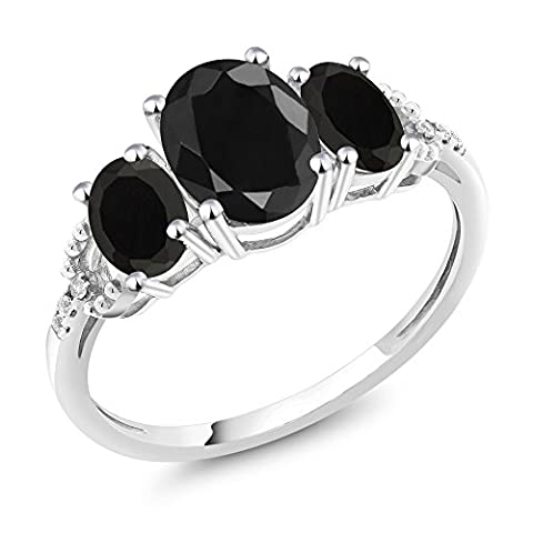10K White Gold Diamond Accent Three-Stone Engagement Ring set with 2.49 Ct Oval Black Sapphire Black (Oval Cut Black Onyx Ring)