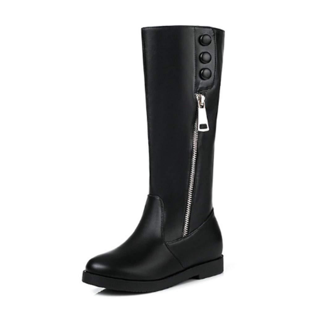 FMWLST Stiefel Woherren Knee High Stiefel Platform Pu Wedge schuhe Zipper Winter Stiefel Woherren schuhe Stiefel