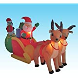 8.5 Foot Long Christmas Inflatable Santa Claus & Penguin on Sleigh Pulled by 2 Reindeer