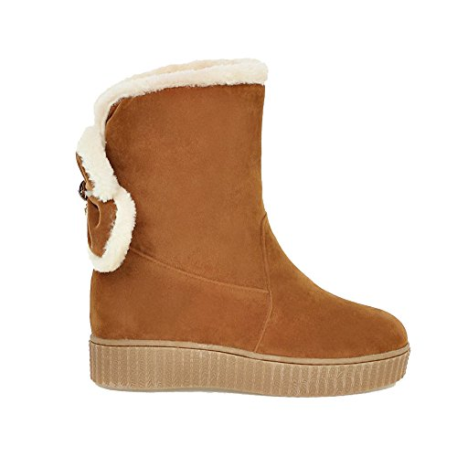 Allhqfashion Mujeres's Pull-on Round Toe Kitten-heels Imitado Suede Low-top Botas Amarillo