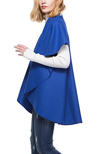 Donna Aperto Cardigan Panciotto Elegante Irrgular Bavero Blue Davanti qqc6xvrH1w