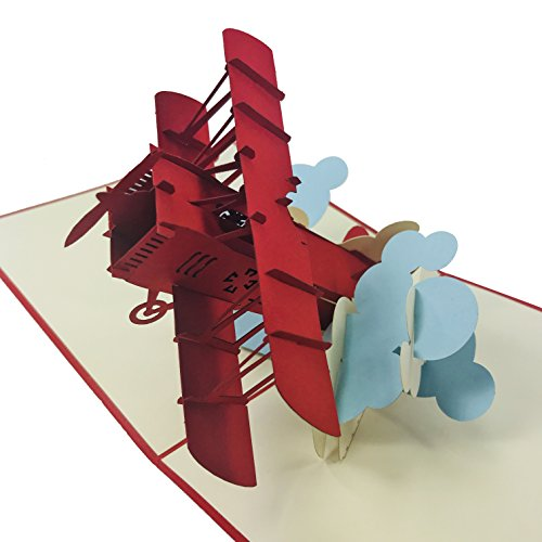 Red Airplane - Wow 3D Pop Up Card for All Occasions - Birthday, Congratulations, Good Luck, Anniversary, Get Well, Love, Good Bye ()