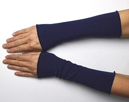 Lange Sommer Stulpen Baumwolle marineblau 25 cm