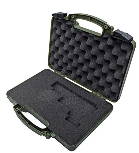 Olive Drab Green - Cedar Mill Firearms Pick & Pluck Foam Hard Lockable Pistol Gun Case for Carrying 9mm Guns OD Handguns & Revolvers Airline TSA Approved Flight Travel Safe non Waterproof box +Storage