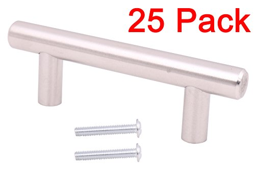 25pcs Solid Stainless Steel Kitchen Door Cabinet T Bar Handle Pull Knobs Hardware Set 2'' 4'' 5'' 6'' 8'' 10'' 12'' (4''(12x64x100mm)) (Cabinet Steel Stainless 4')