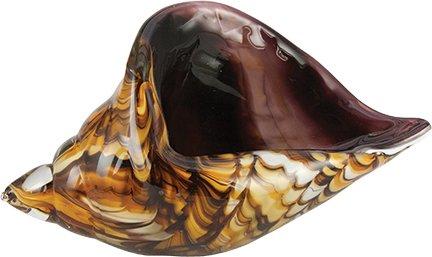 Art Glass Conch Shell Shell-Multi Amber/Purple Figurine 8