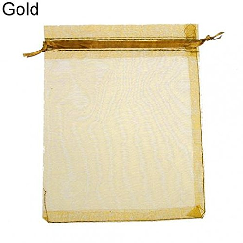 Sachet Gold (50 Pcs Organza Jewelry Gifts Drawable Box Wedding Gift Candy Mini Pouch Bag - Gold 7cm by 9cm Ameesi)