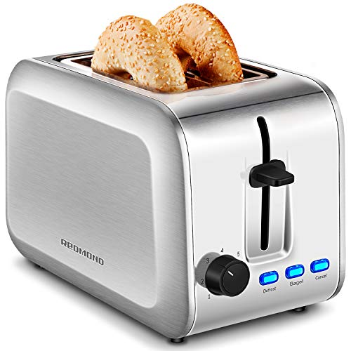 REDMOND Toaster 2 Slice, Stainless Steel Toaster with Extra-Wide Slot, Bagel/Defrost/Cancel Function and 7 Bread Shade…