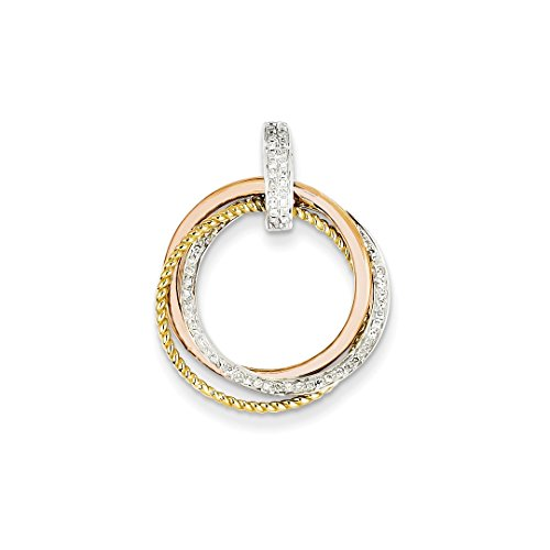 ICE CARATS 14k Tri Color Gold Diamond Moveable Circle Pendant Charm Necklace Fine Jewelry Ideal Mothers Day Gifts For Mom Women Gift Set From Heart (Tri Color Diamond Gold)