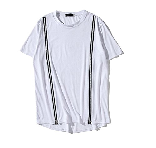Coolred-Men Zip Up Short Sleeve Over Sized Relaxed-Fit Tunic Tees Top Pullover White XL