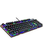 Mechanical Keyboard with Programmable Macro, 16.8 Million RGB Backlit Mechanical Gaming Keyboard with Blue Switches 14 LED Backlit Modes 104 Anti-Ghos