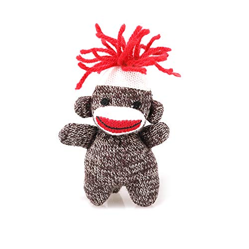 Plushland Original Sock Monkey Key Chain 4 Inches, Stuffed Animals Toys, Summer Party Favors Best Gift for Friends (Pack-12)