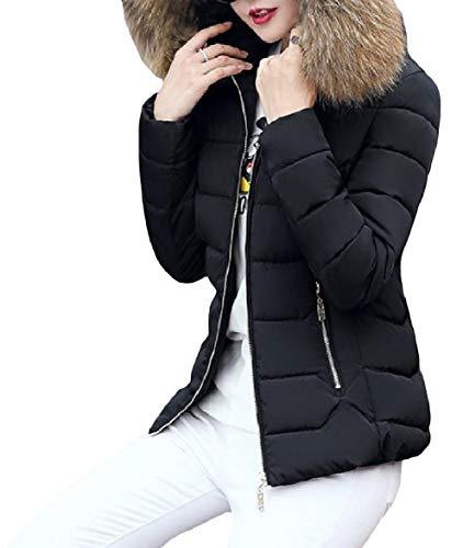 Howme-Women Thick Hood Short Mini Stylish Warm Lightweight Zip Down Coat Pattern2